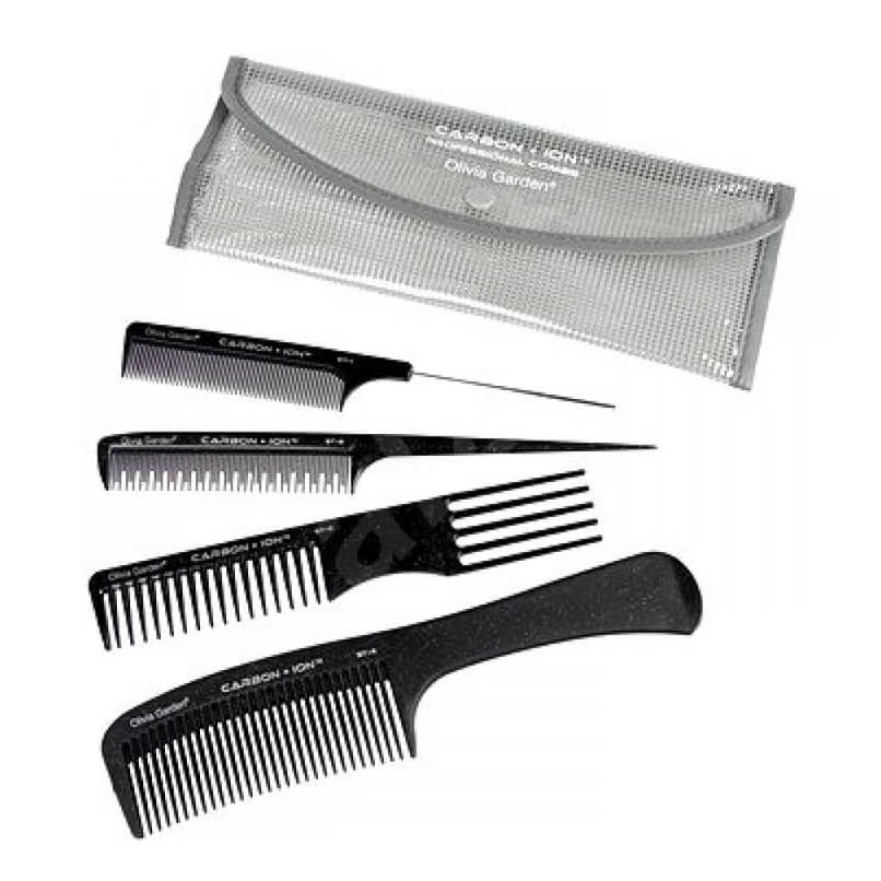 Olivia Garden Carbon + Ion Pouch with 4 ST Combs
